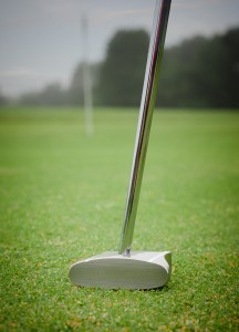 GP putter with view of the golf shaft