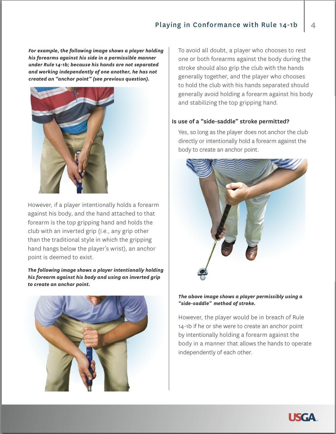 USGA rules image for the side saddle putting